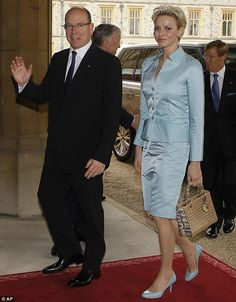 Prince Albert II and Princess Charlene of Monaco arriving at Windsor Castle for the Diamond Jubilee celebrations on 18 May 2012.