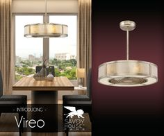 Ceiling fan with drum lamp shade enclosed fan brilliant idea vireo from savoy house is designed to revolutionize the ceiling fan this fan d aloadofball Choice Image