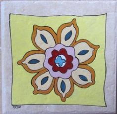 Hand painted tile by Monica tiles Tiles, Hand Painted, Stone, Flowers, Painting, Color, Wall Tiles, Colour, Painting Art
