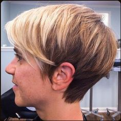 Side View of Two Tone Pixie Cut