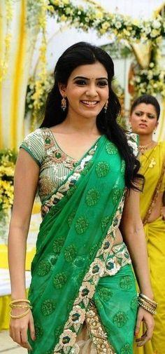 SAmantha in green half saree