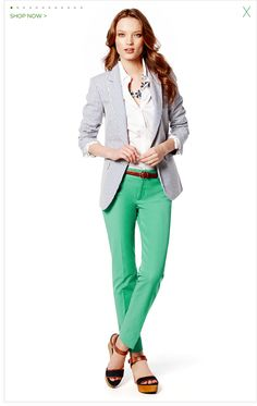 I'd LOVE a seersucker jacket! The green pants are a lot of fun too.  I'd also love a fitted white shirt, but I find that buttons are difficult with my chest size.     Women's Apparel: Pants, Dresses, Jeans, Sweaters, Suits, Skirts, Blouses & Jackets   Banana Republic