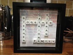 Scrabble name family Frame - Engraved and Signed