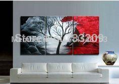 Pintado a mano moderno negro blanco y rojo pintura abstracta paisaje 3 unidades de la lona Wall Art decoración del hogar Pictures Set