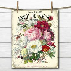 Vintage Colorful Flower Bouquet, Watercolor flowers, Vintage French Typography, Digital Collage Sheet Digital Print, graphic Transfer by FrenchPaperMoon on Etsy