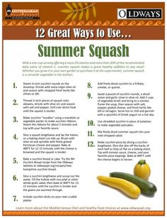 12 Great Ways to use summer squash.we have too much squash from the farmers market! Side Recipes, Vegetable Recipes, Real Food Recipes, Healthy Recipes, Veggie Side Dishes, Mediterranean Diet Recipes, Fruits And Veggies, Vegetables, Summer Squash