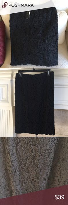 Talbots Corded Black Lace Pencil Skirt Size 2 $149 NWT Talbots Black Cord Lace Pencil Skirt Lined Size 2 $149 Talbots Skirts Pencil