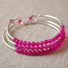 Bridesmaid Jewelry, Sangria, Sterling Silver, Fuchsia Jade, Hot Pink, Raspberry, Magenta, Beaded Bangles, Adjustable Length, Set of 3