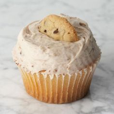 Crumbs Cookie Dough cupcake, vanilla cupcake, fudge filling with cookie dough icing