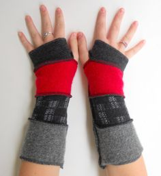 Recyclé laine mitaines Arm Warmers rouge/Red noir anthracite gris Upcycle reconnaissants de Rose