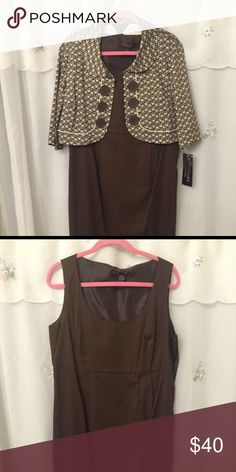 Brown dress with jacket brand new! Brown dress with a matching brown/white pattern jacket Robbie Bee Dresses
