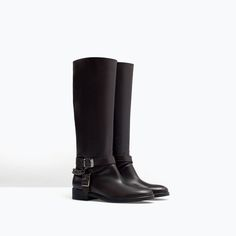 ZARA - WOMAN - FLAT LEATHER BOOTIE WITH BUCKLES