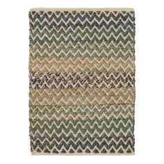 Make design waves with this beautifully textured woven jute rug in seaglass hues of turquoise, indigo, and aqua mixed with natural jute and ivory cotton. Its eye-catching ombre effect, chevron pattern, and durable construction make this area rug perfect for statement spaces like the living room, or dining room.