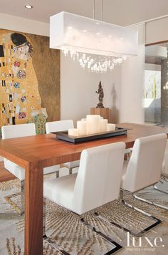 White Contemporary Dining Room