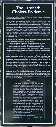 Plaque remembering the Lambeth Cholera Epidemic of 1848-49 in London, England