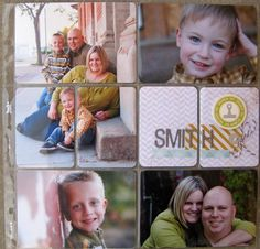 Neat idea to cut pics for several smaller slots. Easier/less expensive than reprinting in smaller sizes just to fill smaller slots.