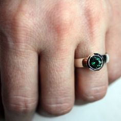Green quartz solitaire ring  forest green  faceted  by metalicious, $168.00