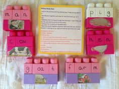 Building words activity. The different sounds are on separate bricks. The children have to listen carefully to the different sounds in each word and find the right grapheme. They can then press the sound buttons on the top of the mega blocks and blend the sounds to read the words they have built. A great phonic activity for early years which can be extended for more complex sounds.