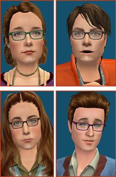 Mod The Sims - The Hofstadters - new adorkable specs for your sims