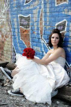 Trash the dress  sneakers + graffiti + wedding dress