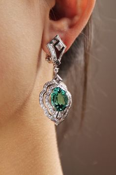 Louis Vuitton tourmaline and diamond one of a kind Conquêtes earrings.
