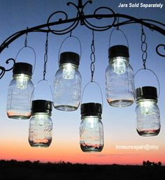 Outdoor Event Lighting Mason Jar Solar Lights, Wedding Lights, Hanging Lanterns for Parties, Garden or Events, no jars. $62.00, via Etsy.