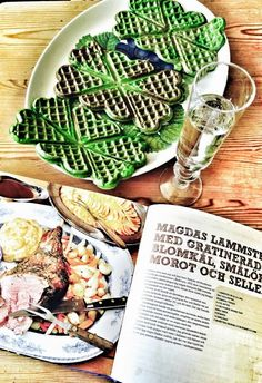 Waffles With Fresh Herbs — Beautiful green waffles with Organic Eggs, accompanied Trout, crème fraiche (with a ladle in my creamer), & White Asparagus Landes ... I liked the recipe so much, I decided to send it to you here!
