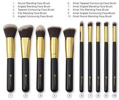 10 PC Premium Makeup Artist Contour Brush SET - 100% Non-Porous Premium Synthetic Bristles - Suitable For Sensitive Skin. - Hand made with solid sustainable wood handles in epoxy paint with metal ferr