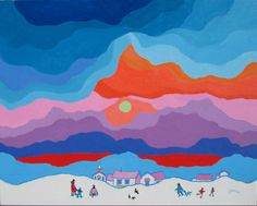 A Merry Morning by Edward Hardy (Ted) Harrison CM OBC RCA presented by Hambleton Galleries Popular Artists, Artists For Kids, Art For Kids, Cultural Crafts, Inuit Art, Artwork Display, Canadian Artists, Native Art, Elementary Art
