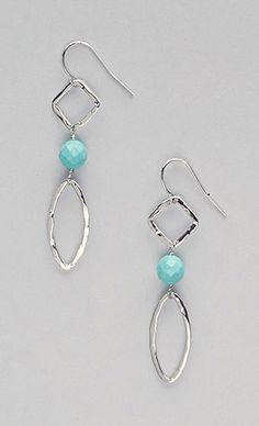 Turquoise Sterling Silver Geometric Drop Earrings