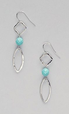 Turquoise & Sterling Silver Geometric Drop Earrings
