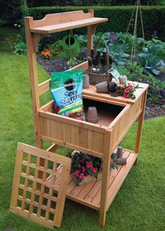 I want this for my patio organizing project Astonica® Wooden Potting Bench - Ace Hardware Outdoor Potting Bench, Potting Bench Plans, Potting Tables, Potting Sheds, Outdoor Benches, Potting Soil, Outdoor Ideas, Wooden Furniture, Cool Furniture