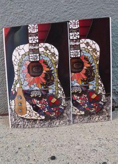 Oversized art postcard set Guitar Art Home by PiecesofhomeMosaics