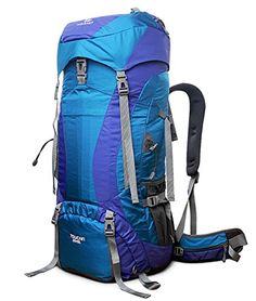 ANGIX 65L10L Internal Frame Backpack Waterresistant Outdoor Sport Backpacking Trekking Bag for ClimbingcampinghikingTravel and Mountaineering with Rain Cover Blue -- Check out the image by visiting the link.(This is an Amazon affiliate link and I receive a commission for the sales)