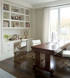 Home Office Built-in Desk Design, Pictures, Remodel, Decor and Ideas Dining Room Office, Home Office Space, Home Office Desks, Office Nook, Office Spaces, Basement Office, Kitchen Office, Study Office, Desk Space