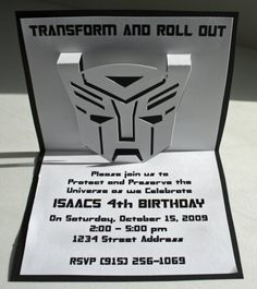 Transformers Pop Up Invitations by InvitationCreation on Etsy