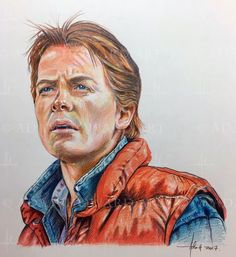 Nice Movie actors 2017: MICHAEL J. FOX   (as Marty McFly in Back to the Future)   Illustration © Adam H... ADAM HOWARD ART Check more at http://kinoman.top/pin/20072/