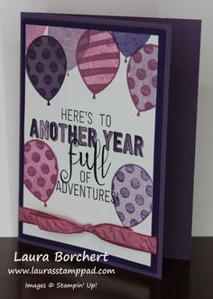 Year of Adventures, Balloon Background, Stampin' Up! Balloon Adventures Stamp Set, Birthday, Occasions Mini Catalog, Watercolor, Ruched Ribbon, Video Tutorial,  www.LaurasStampPad.com