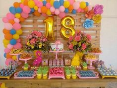 See how to organize your party 18 years with amazing themes to impress guests! 70 are inspirations to do on your day! Flamingo Birthday, Flamingo Party, 18th Birthday Party, Birthday Party Decorations, Birthday Ideas, Luau Party, Aloha Party, Tropical Party, Holidays And Events
