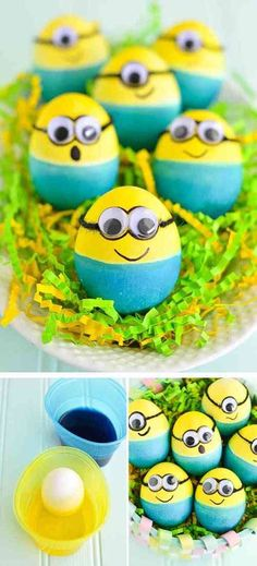 Celebrate Easter this your and your kids' favorite movie characters and make some Dyed Minion Easter Eggs. Minion Easter eggs are actually really easy to make because you only need two main colors and some googly eyes! Minion Easter Eggs, Easter Bunny, Easter Egg Designs, Egg Crafts, Kids Crafts, Bunny Crafts, Kids Diy, Easter Activities, Classroom Activities