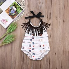 Baby Girl Style // Baby Girls Halter Backless Full Arrows Print Tassels Bodysuit // Baby Girl Outfit Ideas // Baby Clothes // Baby Jumper // Romper // Get the full description here http://amzn.to/2cvlFux //affiliate//