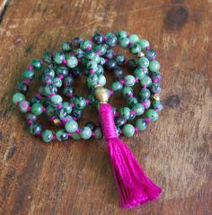 108 Mala Beads, Ruby in Zoisite, Anyolite, Prayer, Meditation, Yoga Jewelry, Knotted Buddhist Rosary