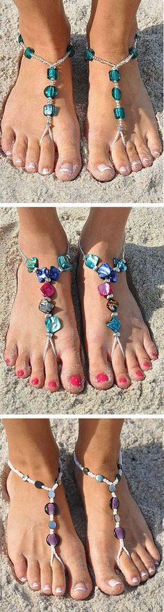 Jewelry for the feet! Beaded Barefoot Sandals ♥ L. Beaded Sandals, Bare Foot Sandals, Diy Barefoot Sandals, Barefoot Beach, Bijoux Diy, Fashion Beauty, Womens Fashion, Anklets, Girly Things