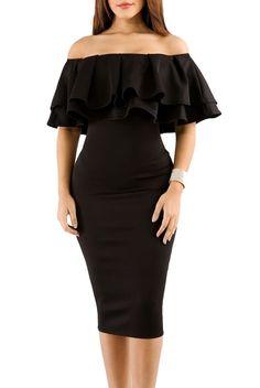 d4203bc48263 Black Layered Ruffle Off Shoulder Midi Formal Dress