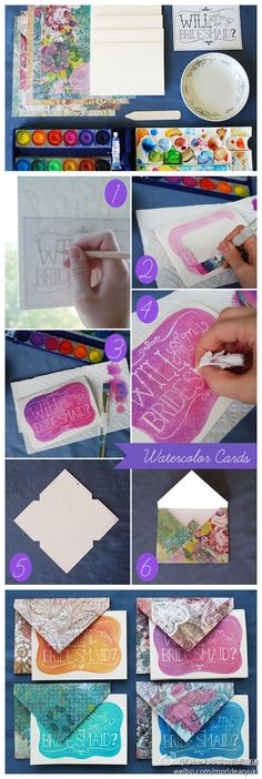 DIY Watercolor card technique diy diy ideas diy crafts diy tips diy cards do it yourself images diy photos diy party ideas craft crads craft gifts diy gifts craft ideas diy ideas easy crafts easy diy easy crafts fun diy Diy Watercolor, Watercolor Invitations, Diy Invitations, Watercolor Wedding, Wedding Invitation, Bridesmaid Invitations, Invitation Cards, Be My Bridesmaid Cards, Will You Be My Bridesmaid