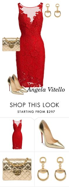 """""""Untitled #799"""" by angela-vitello on Polyvore featuring ML Monique Lhuillier, Christian Louboutin, Chanel and Gucci"""