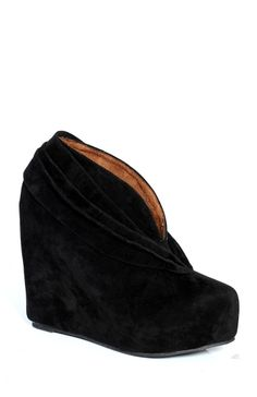 Black Suede V-Cut Booties