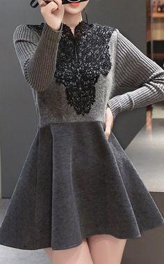 Trendy V-Neck Patch Lace Long Sleeve A-Line Dress