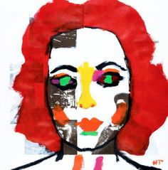 Elizabeth Taylor  Acrylic and graphite on paper from an 1911 French Atlas 16 7/8 by 17 inches © Neal Turner 2015 Click the link below for more information about this painting … http://stores.ebay.com/GALLERY-ANT