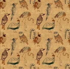 Fabric - Geo Birds (In Hemp) By Nouveau Bohemian - Woodland Bird Cotton Fabric By The Yard With Spoonflower